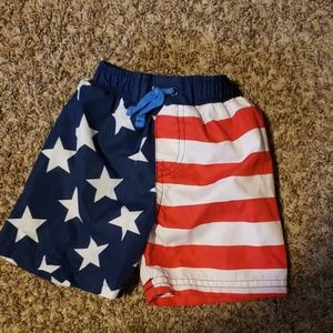 3/$12 Flag swim shorts